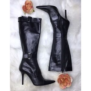 Charles David tall stiletto leather boots size 8